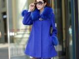 厂家直销秋冬女式修身大码呢外套中长款显瘦毛领羊毛呢子大衣风衣