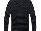 亚伦强森新款男士毛线衣 韩版男装翻领领毛衫 男修身毛衣07014
