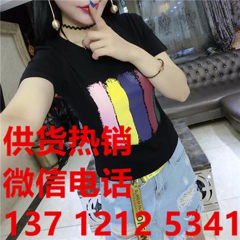 地摊淘宝服装货源哪里厂家外贸东大门17新款精品女装T恤短批发