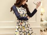 2014春装新款韩版 女娃娃领 修身雪纺长袖碎花 连衣裙