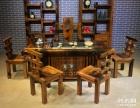 黄石市老船木茶桌椅子仿古茶台实木沙发茶几餐桌办公桌家具博古架