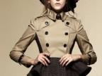 欧美大牌女装 秋冬新款 卡其色短款撞色长袖风衣外套 双排扣大衣
