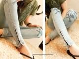 2014 韩国代购 个性脚口拉链 磨破 骷髅头刺绣 牛仔裤女裤2
