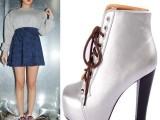 秋冬新款英伦骑士靴高跟粗跟防水台短靴方头银色系带女靴子