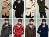 日韩系外贸男装风衣外套 韩版男士修身时尚纯色中长款翻领呢大衣
