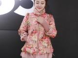 A字型花朵棉衣 欧根纱个性拼接 针织挡风袖 短款棉衣LRS