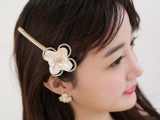 韩版合金镶钻花朵发饰 山茶花可爱花瓣发夹 发卡头饰品 批发