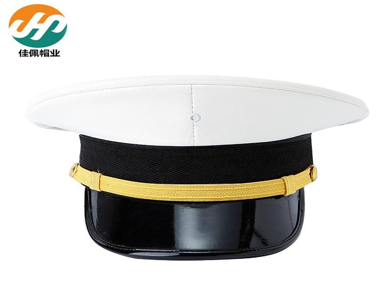 白色竖纹皮质大盖帽航海大檐帽马来亚海军大盖帽制服帽