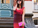 荷芙妮格欧美新款渐变拼色性感V领修身绷带连衣裙宴会短礼服H701