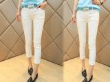 2014新款夏装 女装牛仔裤 时尚潮款白色显瘦小脚七分裤