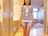 2015韩国东大门爆款 日式海军风女式针织衫条纹纯棉五分袖针织衫