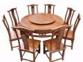 深圳众美德定制圆餐桌全水曲柳实木餐桌带转盘圆形餐桌
