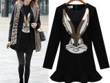 大码女装新款2015秋冬外贸ebay速卖通欧美修身显瘦长袖连衣裙