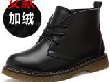 2014新款韩潮版欧洲站马丁靴女学生真皮单靴牛筋底裸短靴女鞋批发