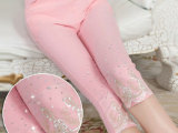 夏季新款韩版糖果色显瘦弹力七分薄款打底裤烫钻女蕾丝铅笔小脚裤