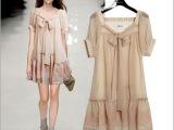 2014外贸 春夏季新款欧洲欧美 美国名模与裸色雪纺连衣裙刺绣