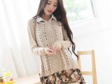 韩国代购2014秋装镂空A字型针织毛衣+雪纺印花衬衫女两件套 包