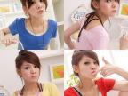 2014新品韩版夏装糖果色UV领打底衫弹力休闲短袖打底衫T恤批发