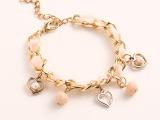 新款上市 镂空爱心珍珠手链条 手链手镯批发