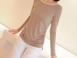 韩版秋新款 莫代尔棉修身显瘦褶皱下摆圆领长袖T恤打底衫 批发