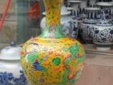 景德镇陶瓷花瓶/手工雕刻三彩花瓶/工艺摆