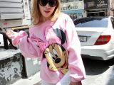 淘宝货源 J325-140 秋冬新款女装圆领长袖嫩粉色米奇T恤粉