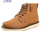 冬季新款单靴中帮马丁靴潮流增高靴子真皮中筒军靴加绒保暖棉靴