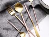 沙朵Annie系列 高档304不锈钢餐具 创意尖尾粉色刀叉勺