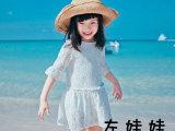左娃娃春款韩版童装批发 韩国童装 纯美蕾丝中袖女童裙 两层