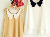 8-66 特价 日单外贸 双层花瓣娃娃领 拼色 A字型双层雪纺衫
