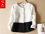 小香风欧州站黑白拼接女式外套  品牌春季时尚百搭中袖外套