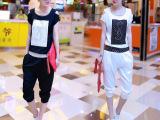 外贸原单 2014新款夏装运动套装烫钻韩版运动服短袖休闲套装 特