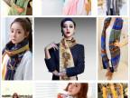 秋冬新款 韩国巴黎纱女士围巾批发女棉麻钟表青花瓷几何条纹围巾