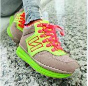 CUTIE弹簧鞋休闲运动瘦身鞋秋冬新款荧光拼色松糕厚底