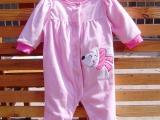 摇粒绒粉色外出服 新生儿连体衣 爬行服