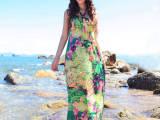 2014沙滩裙 显瘦 波西米亚女装 大码连衣裙 抹胸印花 拖地长