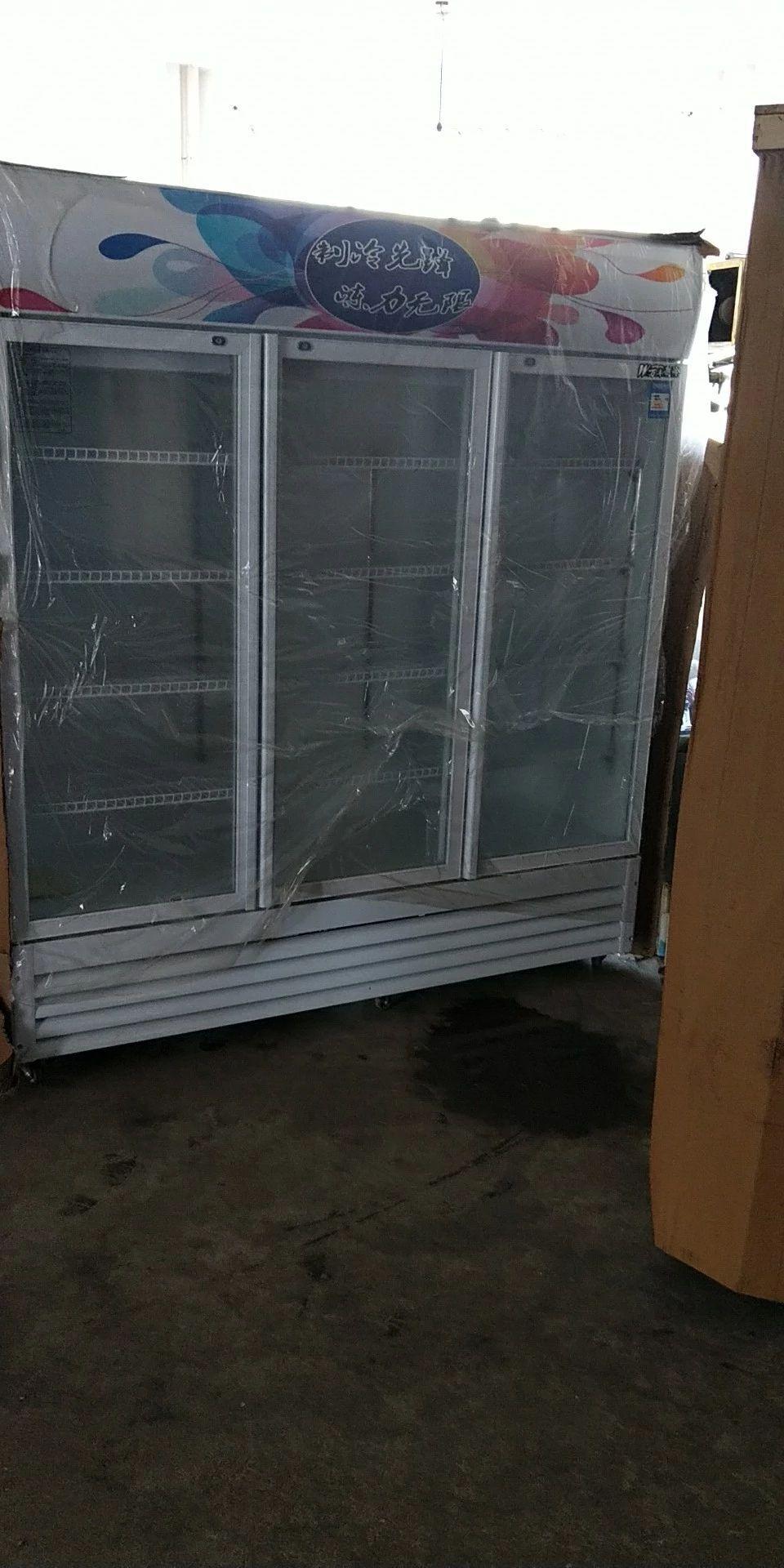 批发全新铜管双门展示柜,冰柜