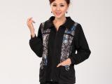 2014春季新款中老年人女装春款长袖羊毛大衣 绣花民族风女装外套