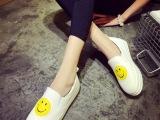 2015新款秋女鞋 韩版可爱笑脸秀圆头松糕跟乐福鞋百搭休闲帆布鞋