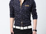 波点碎花男士长袖衬衫 批发供应 2014新款男士个性潮男衬衣 批