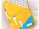 2014新款韩版女包潮背包中学生书包拼色帆布背包双肩包