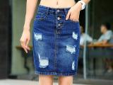 2015夏装新款女装牛仔短裙女半身裙韩版显瘦弹力包臀裙子 牛仔
