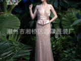 2014欧美女装全身手工拼接钉珠收腰肩带低胸背带裙礼服长款晚礼服