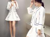 2015新款欧洲站两件套休闲 裙套装女秋套装裙时尚白色短 韩版女