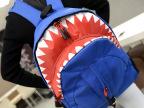 欧美个性鲨鱼嘴双肩包撞色学生包后背包 大中小款可选择女包 批发