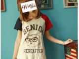2014新款夏装 日系 文艺小清新柯南猫咪青年拼色短袖t恤