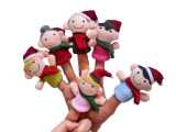 圣诞一家人指偶玩具,圣诞一家亲指偶,圣诞指偶 手指偶说故事