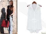 2014 欧美新款时尚雪纺蕾丝拼接翻领 长款衬衫