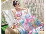 2015夏季大码女装波西米亚雪纺连衣裙女挂脖露肩抹胸印花拖地长裙