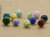 满200包邮ED013鼓景德镇陶瓷圆形爆款小耳钉防过敏糖果色创意
